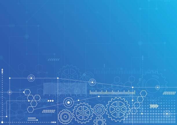 technik-kommunikation-design-innovation-konzept-hintergrund zu abstrahieren. vektor-illustration - maschinenteil ausrüstung und geräte stock-grafiken, -clipart, -cartoons und -symbole