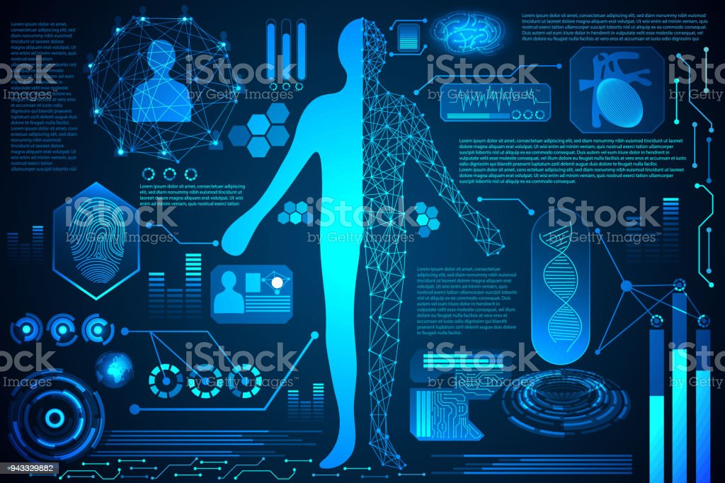 Abstract Technology Concept Human Body Digital Health Care Hud Interface Of Analysis And Scan