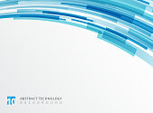 Abstract technology curve overlapped geometric squares shape blue colour on white background with copy space. Vector graphic illustration