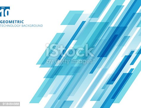 Abstract technology diagonally overlapped geometric squares shape blue colour on white background. Vector graphic illustration