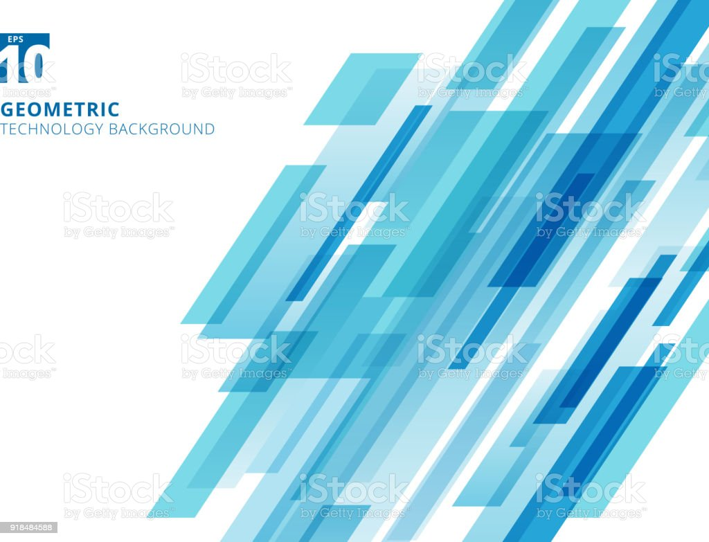 Abstract technology diagonally overlapped geometric squares shape blue colour on white background. - ilustração de arte vetorial