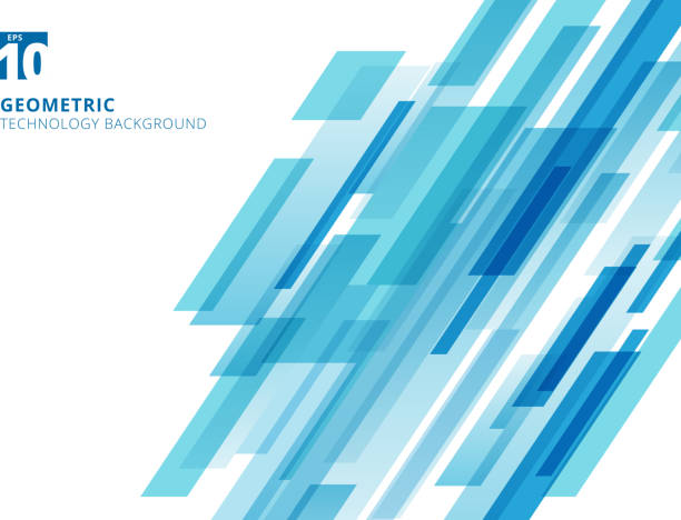 Abstract technology diagonally overlapped geometric squares shape blue colour on white background. Abstract technology diagonally overlapped geometric squares shape blue colour on white background. Vector graphic illustration in a row stock illustrations