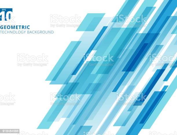 Vetores de Abstrata Tecnologia Sobreposto Na Diagonal Quadrados Geométricos Forma Azul Cor Sobre Fundo Branco e mais imagens de Abstrato