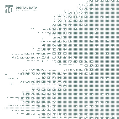 Abstract technology digital data square gray pattern pixel background. clipart