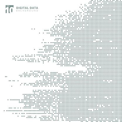 추상적인 기술 디지털 데이터 사각 회색 패턴 픽셀 배경 0명에 대한 스톡 벡터 아트 및 기타 이미지