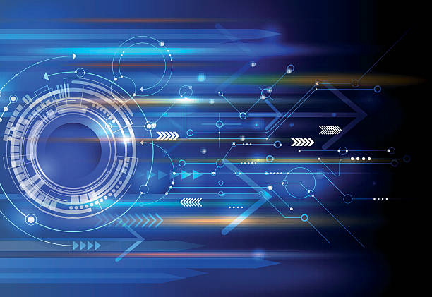 Abstract technology eyeball, circuit board, speed motion blur Vector Abstract technology background with eyeball, circuit board, speed motion blur of light rays, arrow, stripe line on dark blue background. Hi-tech, science, futuristic, energy technology concept high up stock illustrations