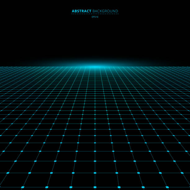 Abstract technology futuristic concept blue grid perspective on black background and lighting with space for your text Abstract technology futuristic concept blue grid perspective on black background and lighting with space for your text. Vector illustration diminishing perspective stock illustrations