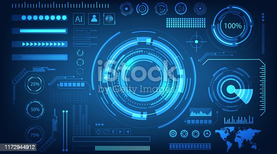 abstract technology futuristic concept HUD interface hologram elements of digital data and circle percent vitality innovation on blue color background.