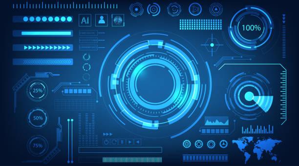 디지털 데이터의 추상 기술 미래 개념 hud 인터페이스 홀로그램 요소와 블루 컬러 배경에 원 퍼센트 활력 혁신. - 컴퓨터 그래픽 stock illustrations