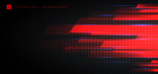 abstrakte technologie futuristisches konzept rotlicht geometrische mit beleuchtung bewegung horizontalen weg auf schwarzem hintergrund. - laservorlagen stock-grafiken, -clipart, -cartoons und -symbole