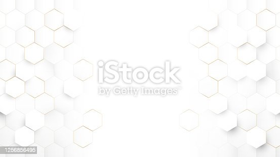istock Abstract Technology, Futuristic Digital Hi Tech Concept. Abstract White and Gold Hexagonal Background. Luxury White Pattern. Vector Illustration 1256856495