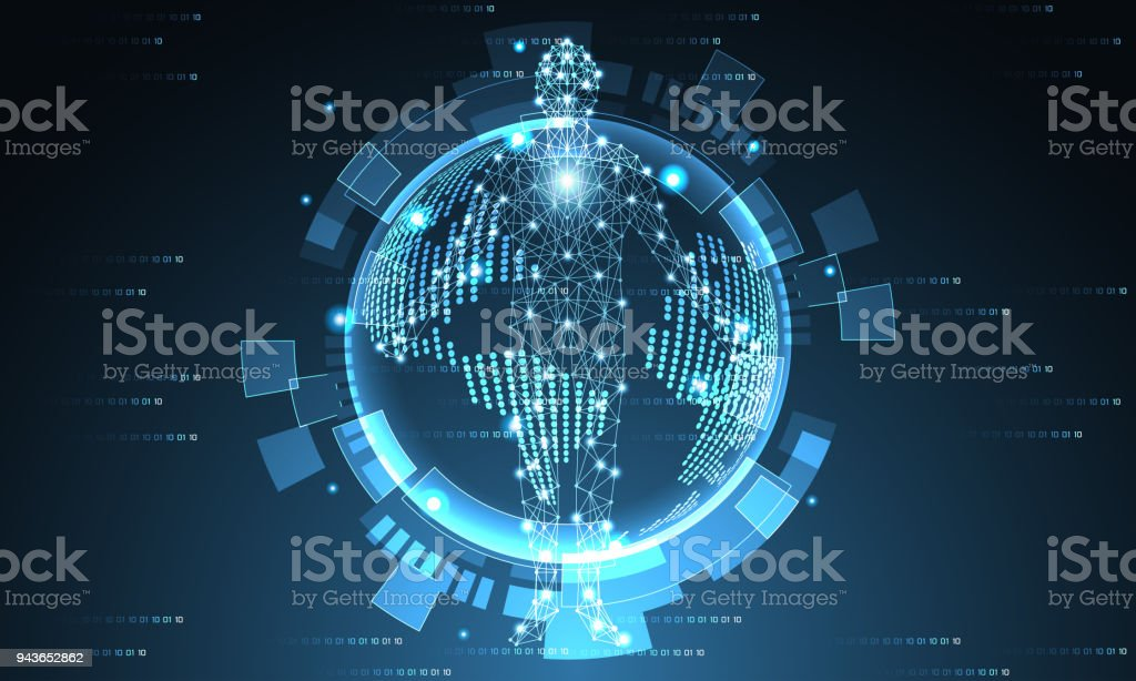 Hervorragend Futuristische Welt Der Abstrakten Technologie Und Menschliche Digitale  Konzept Zukunftswelt Hi Tech Digitale Moderne Auf