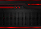 istock Abstract technology geometric red and black color shiny motion background. 1227516268