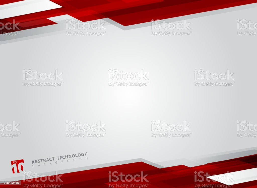 Abstract technology geometric red color shiny motion background. vector art illustration