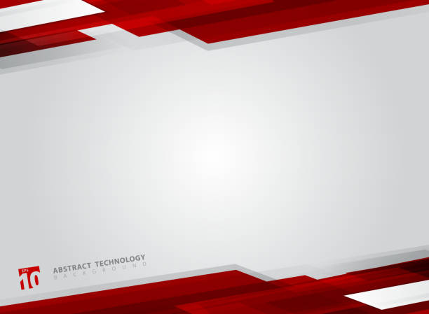ilustrações de stock, clip art, desenhos animados e ícones de abstract technology geometric red color shiny motion background. - vermelho