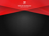 Abstract technology geometric red color shiny motion carbon fiber texture on dark background. Template with header and footer for brochure, print, ad, magazine, poster, website, magazine, leaflet, annual report. Vector corporate design