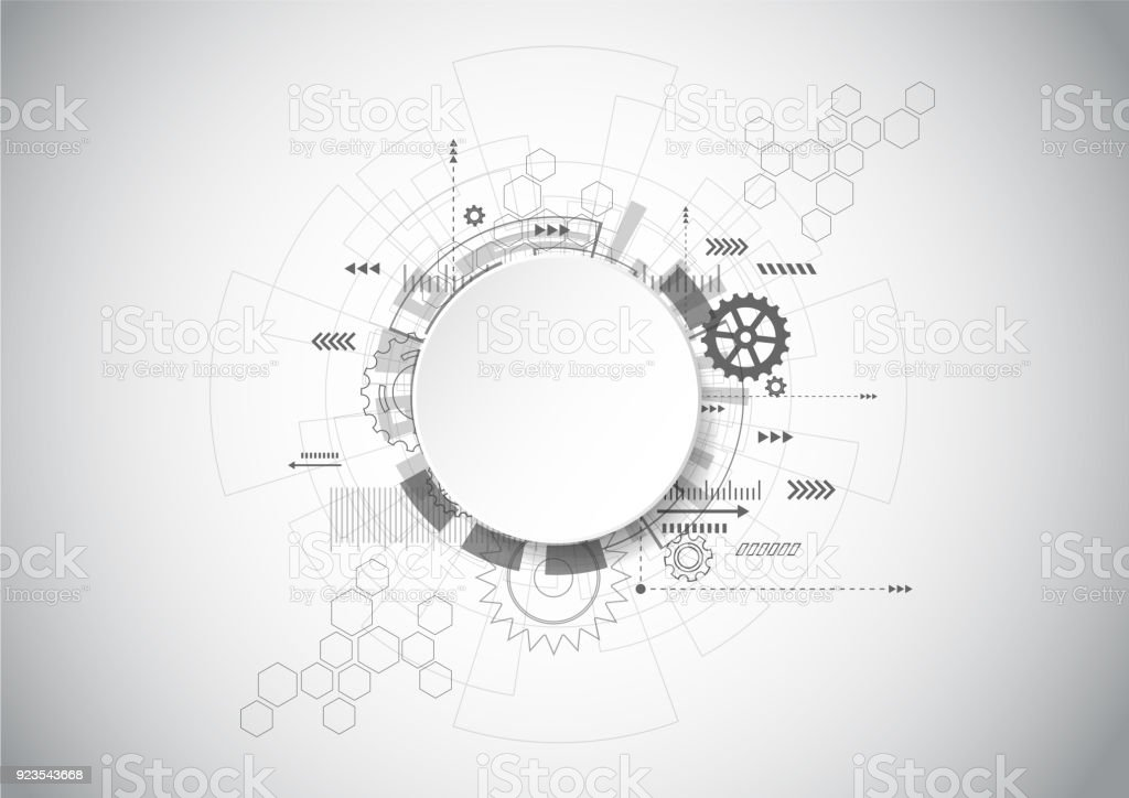 Abstract Technology Grey geometric background with gear shape. Vector graphic design royalty-free abstract technology grey geometric background with gear shape vector graphic design stock illustration - download image now