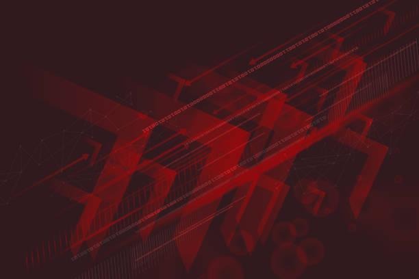 ilustrações de stock, clip art, desenhos animados e ícones de abstract technology innovation concept - vr red background