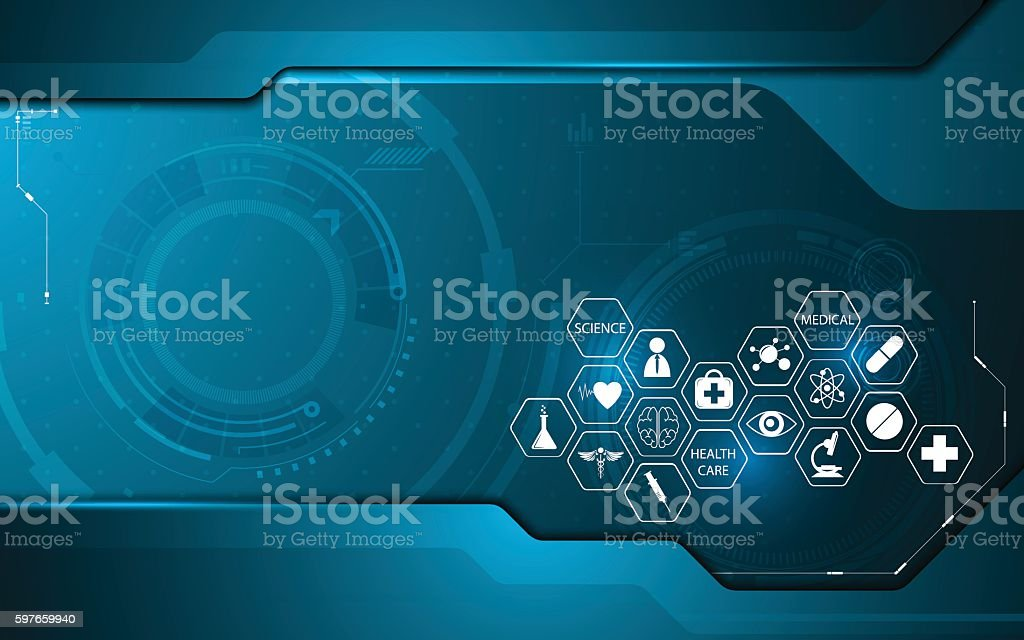 abstract technology innovation with medical health care icon concept backgroundvectorkunst illustratie