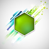 Abstract green label with modern geometric lines. Linear spring green background.