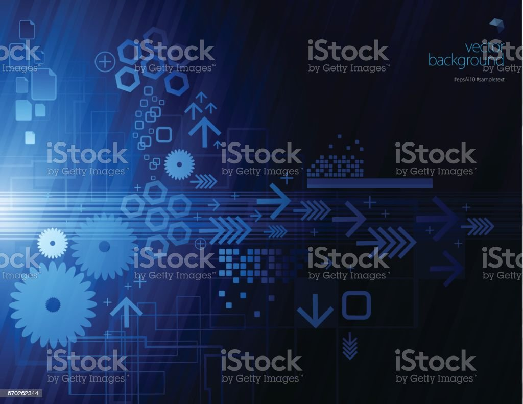 Abstract technology on gear vector art illustration