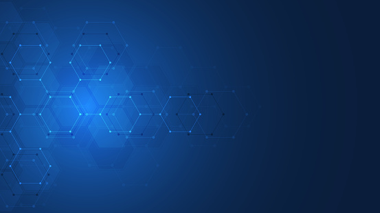 Abstract technology or medical background with hexagons shape pattern. Concepts and ideas for healthcare technology, innovation medicine, health, science and research.