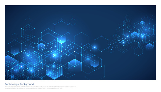 Abstract technology or medical background with hexagons shape pattern.