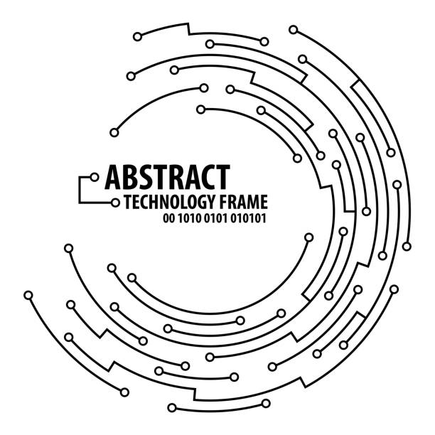 Abstract technology round frame Abstract technology circuit board round frame. Vector illutration circuit board stock illustrations