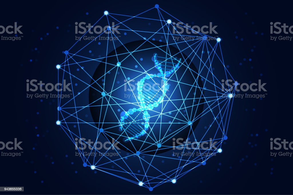 abstract technology science concept the last DNA in the digital world on hi tech background