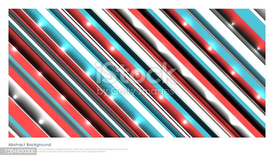 Abstract technology striped oblique blue, red color lines with lighting effect background