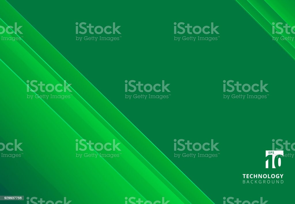 Abstract technology striped overlapping diagonal lines pattern green color tone background with copy space.