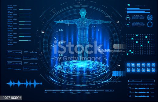 Abstract technology ui futuristic concept hud interface hologram elements of digital data chart, communication, computing,human body digital health care ;