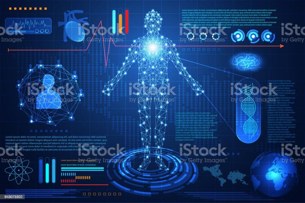 abstract technology ui futuristic concept hud interface hologram elements of digital data chart, communication, computing,human body digital health care ; health future design on hi tech background. vector art illustration