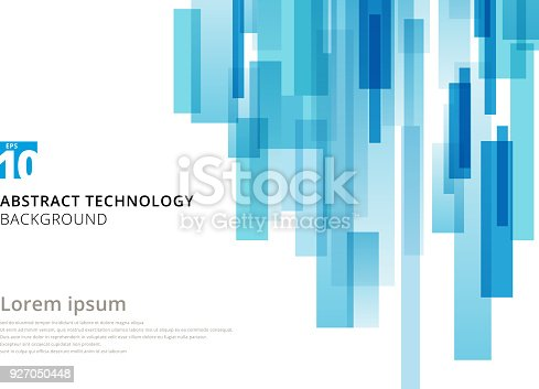 istock Abstract technology vertical overlapped geometric squares shape blue colour on white background with copy space. 927050448