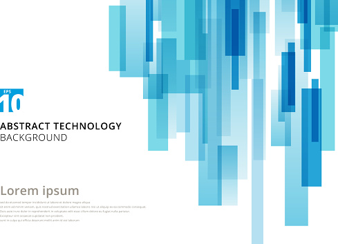Abstract technology vertical overlapped geometric squares shape blue colour on white background with copy space. Vector graphic illustration