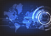 Abstract technology with world map background. Vector illustration