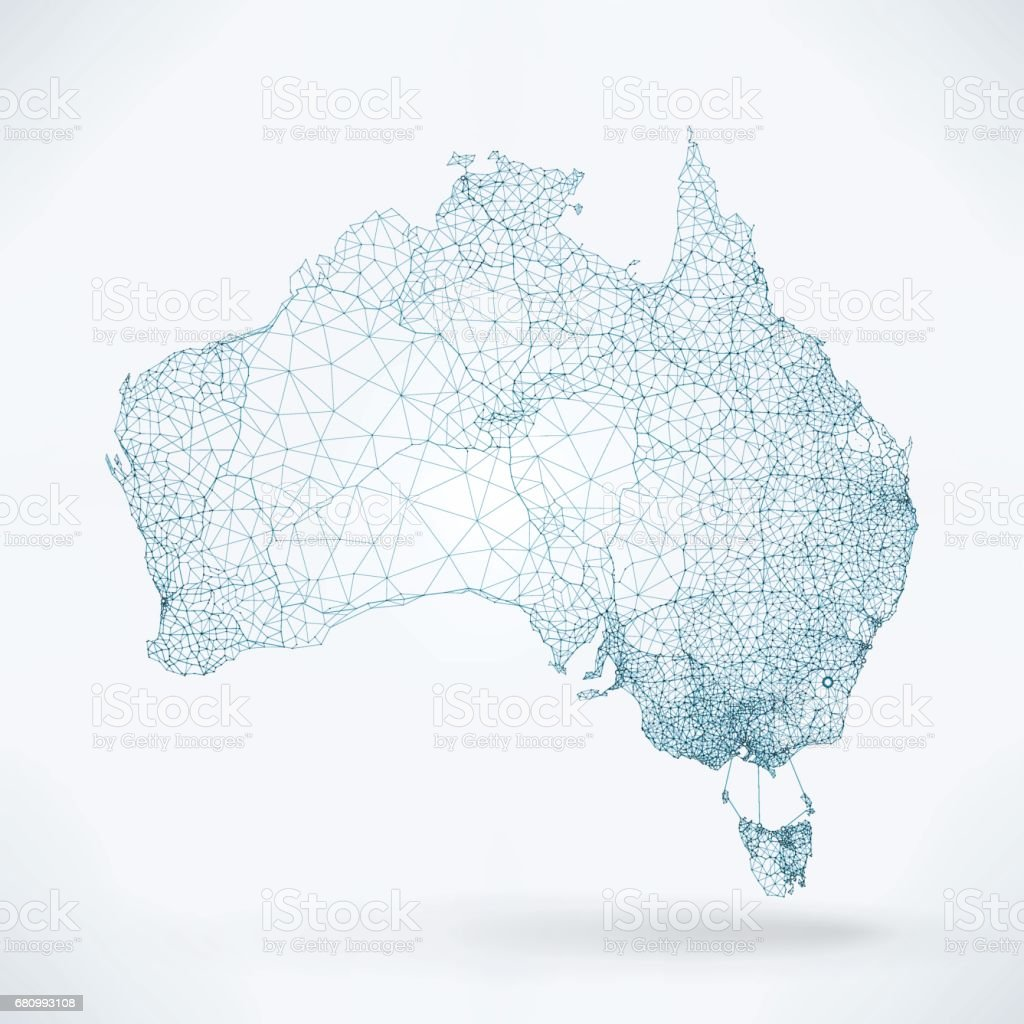 Abstract Telecommunication Network Map - Australia royalty-free abstract telecommunication network map australia stock illustration - download image now