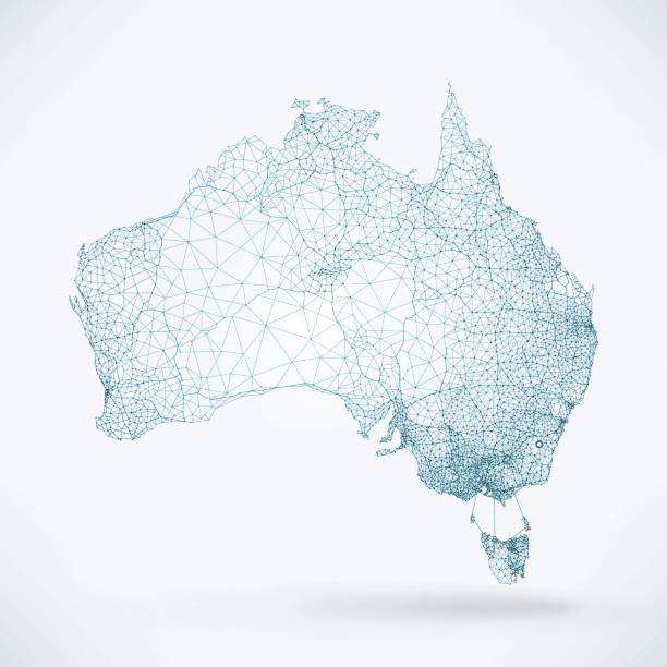 bildbanksillustrationer, clip art samt tecknat material och ikoner med abstrakt telekommunikation network map - australien - australia