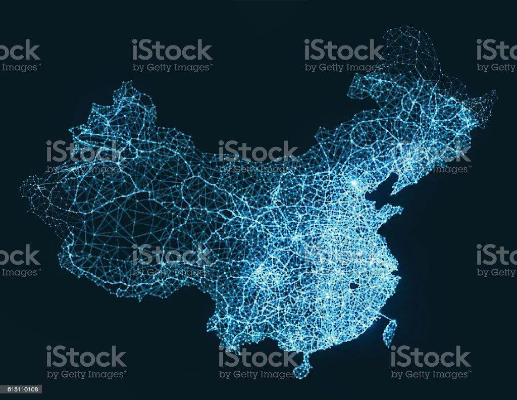Abstract telecommunication network map - China vector art illustration
