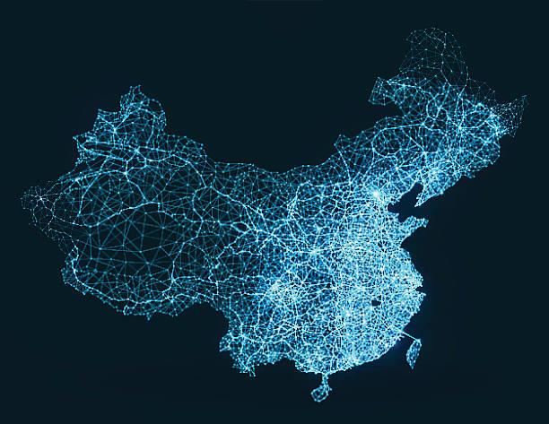 abstract telecommunication network map - china - china map stock illustrations, clip art, cartoons, & icons