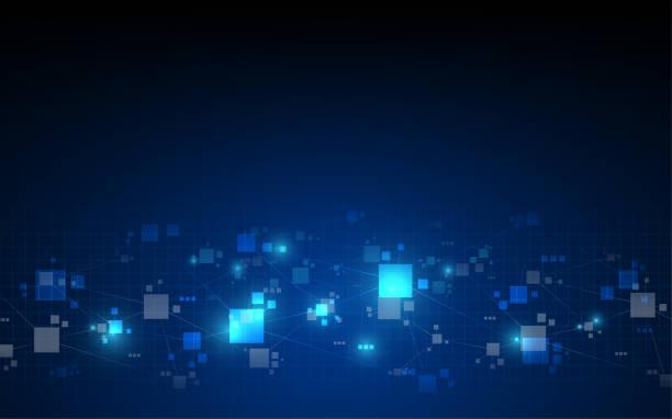 stockillustraties, clipart, cartoons en iconen met abstracte telecommunicatie technologie digitale patroon achtergrond - blockchain