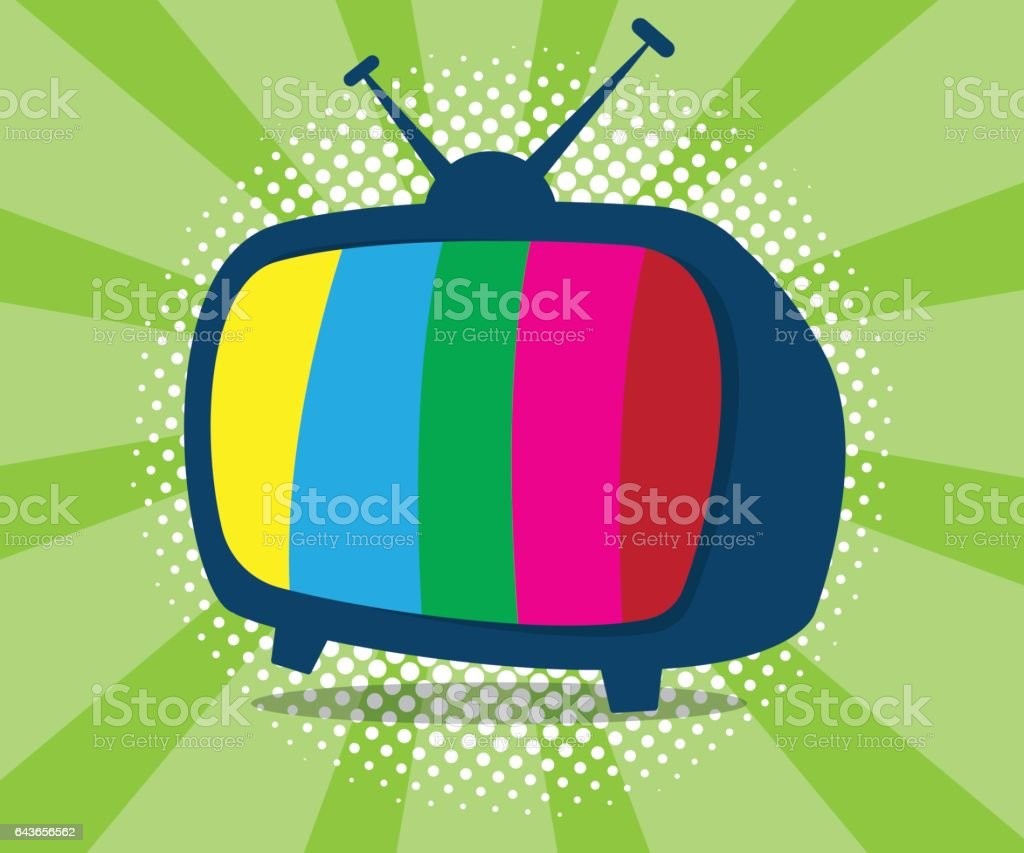 abstract television icon with half tone background vector art illustration