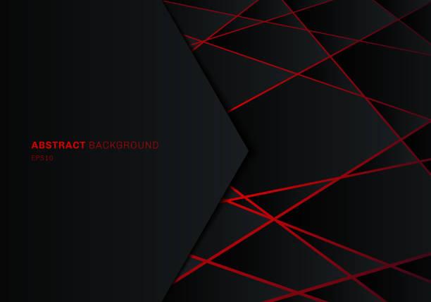 abstrakte schablone schwarzes geometrisches polygon auf rotem laserlicht neon futuristischem technologie-design-konzept hintergrund mit platz für text. - laservorlagen stock-grafiken, -clipart, -cartoons und -symbole