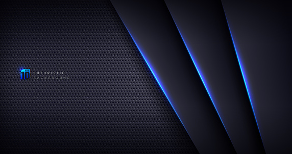 Abstract template black metal texture background with geometric pattern and blue lighting lines. Sports technology modern design concept. Vector illustration