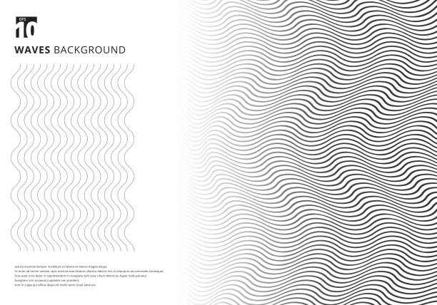 abstract template black wavy stripes curved ripple lines texture on white background with copy space. modern trendy 3d curves. - wave pattern stock illustrations