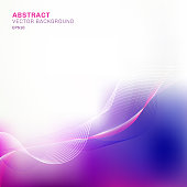 Abstract template blue and purple blurred background with lines wave pattern with copy space. Vector illustrati