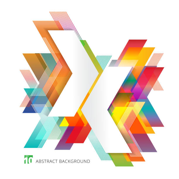 Abstract template colorful arrows overlapping on white background minimal style. Geometric graphic design elements Abstract template colorful arrows overlapping on white background minimal style. Geometric graphic design elements. Vector illustration annual reports templates stock illustrations