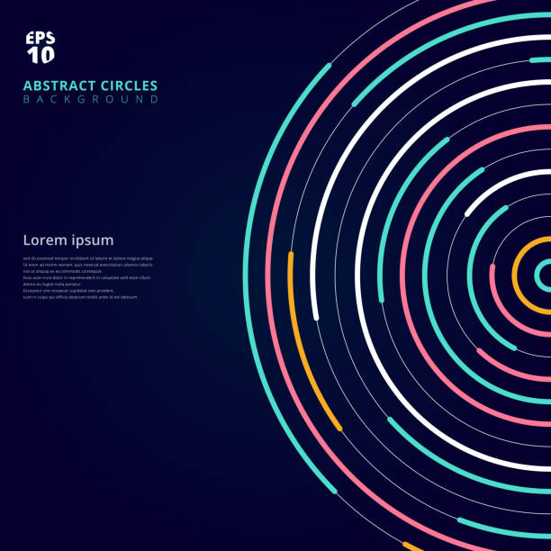 abstract template colorful lines bright circles pattern on dark background. - kultura młodości stock illustrations