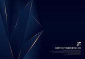 Abstract template dark blue luxury premium background with luxury triangles pattern and gold lighting lines. Vector illustration