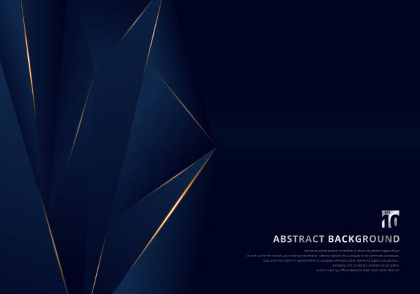 stockillustraties, clipart, cartoons en iconen met abstracte template dark blue luxe premium achtergrond met luxe driehoeken patroon en goud verlichtings lijnen. - luxe